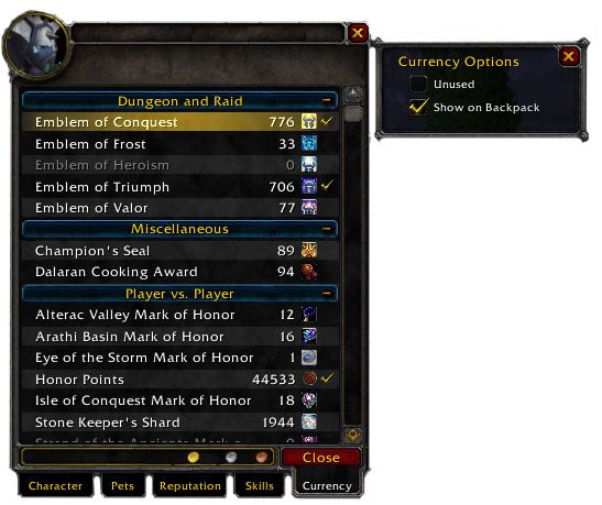 WOW currency tab