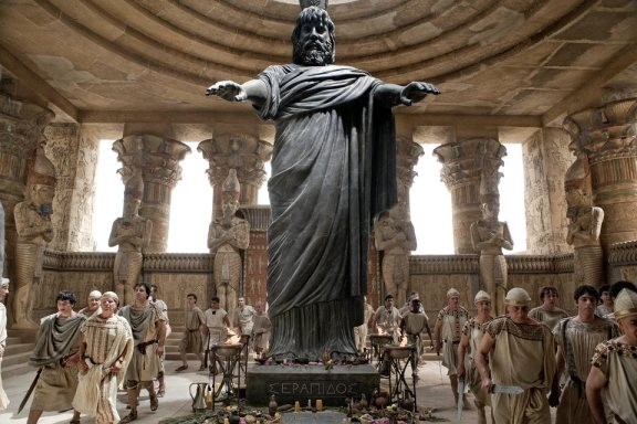 The cult statue of Serapis -- like almost all the cult statues, torn down during these unfortunate years