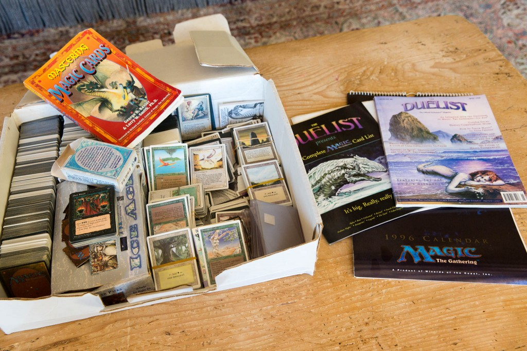 To prove my old school cred, I dug up 20 year old box of magic cards, including beta dual manas, and a 1996 calendar!
