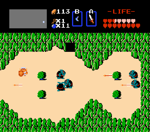 A typical outside screen, complete with enemies and cave